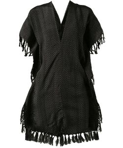 Hacienda Montaecristo | Silk Marina Rebozo Poncho From Featuring A V-Neck A Sleeveless Design Fringed Edges And A Long Length