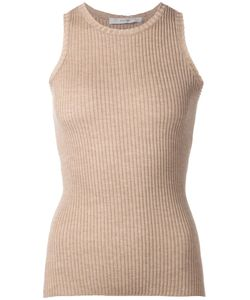 DUSAN | Nude Cashmere-Silk Blend Ribbed Knit Tank Top From