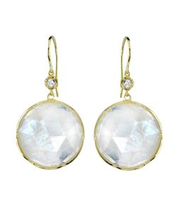 IRENE NEUWIRTH | 18kt Large Stone Earrings From Featuring Rainbow Moonstones Set In With Cut Diamonds 0