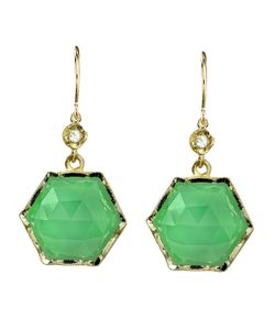 IRENE NEUWIRTH | Chrysoprase Hexagon Stone Earrings From Featuring A Medium Chrysoprase Cut Hexagon Stone With Cut Diamonds And French Hook Closure