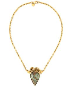 Leivankash | 22kt Plated And Turquoise Embellished Stone Necklace From