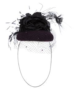 PIERS ATKINSON | Wool Silk And Feather Down Peacock Sword Veil Felt Fascinator From