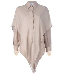 GIANFRANCO FERRE VINTAGE   Silk Shirt From Gianfranco Ferre Featuring A Standard Collar Long Sleeves A Concealed Front Button Fastening Long Sleeves And A V-Shaped Layer Draped Over The Shoulders