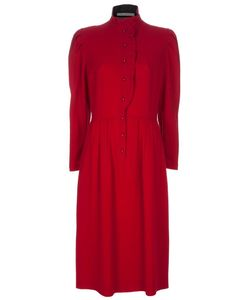 GUY LAROCHE VINTAGE | Wool Long Dress From Guy Laroche Featuring A High Neck Button Front Puff Sleeves And Pleats At The Waist