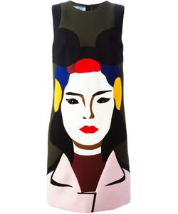 PRADA VINTAGE   Multicoloured Virgin Wool Printed Shift Dress From Featuring A Round Neck A Sleeveless Design Rhinestone Embellishments A Rear Zip Fastening And A Mid-Length