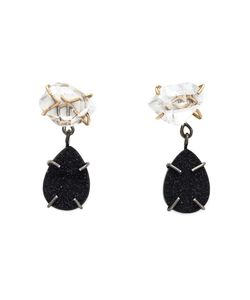MELISSA JOY MANNING | Sterling 14kt Herkimer Diamond And Druzy Drop Earrings From Featuring A Post Back Closure
