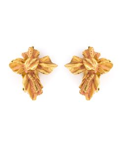 CHRISTIAN LACROIX VINTAGE | Rustic Cross Clip-On Earrings