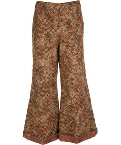 ROBERTA DI CAMERINO VINTAGE | Wool Boucle Trousers From Roberta Di Camerino Featuring A Concealed Front Fastening And A Flared Leg With Leather-Look Trimmed Cuffs
