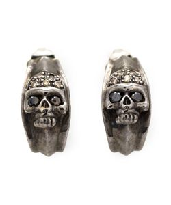 ROMAN PAUL | Rhodium Skull Earrings From