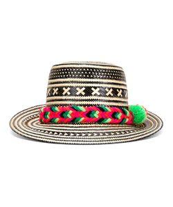 YOSUZI   Pompom Detail Straw Hat