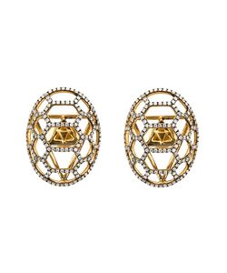 VENYX | 9kt Tortuga Earrings From Featuring A Butterfly Fastening Pave Set Diamonds Rhodium And A Tortoise Shell Shape