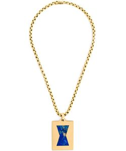 Cartier Vintage | 18k Necklace From Featuring A Box Chain An External Deployant Clasp And A Rectangular Pendant With A Lapis Lazuli Centre