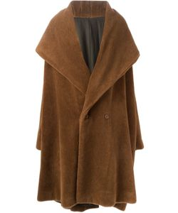 ROMEO GIGLI VINTAGE | Dark Camel Alpaca Oversized Coat From Featuring An Oversized Collar A Front Button Fastening And A Back Slit At Hem