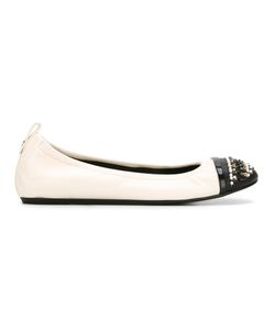 Lanvin | Embellished Toe Ballerinas 38 Calf Leather/Leather/Glass