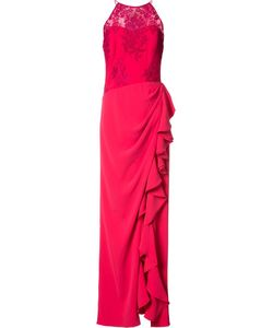Badgley Mischka | Ruffled Slit Dress 12 Polyester