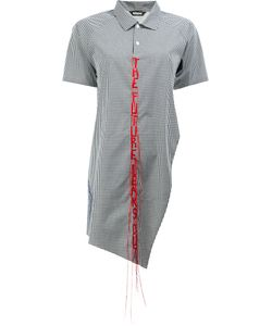 MOOHONG   Asymmetrical Mixed Checked Shirt Size 38