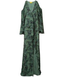 BAJA EAST | Banana Leaf Print Cold Shoulder Dress