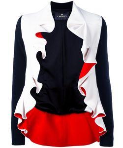 CAPUCCI | Ruffle Trim Jacket 42 Viscose/Acetate/Spandex/Elastane/Spandex/Elastane