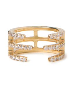 KHAI KHAI | 18kt Linear Diamond Midi Ring From Featuring Pave Set Diamonds