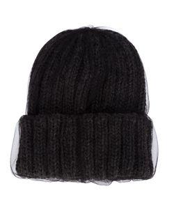 CA4LA   Dark Wool Tulle Overlay Beanie From