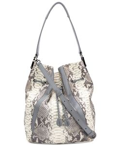 KHIRMA ELIAZOV | Cream And Crocodile Skin Shoulder Bag From
