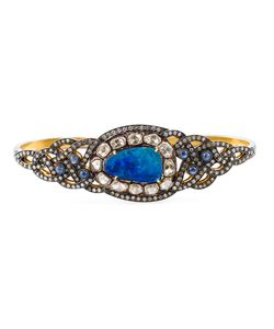 GEMCO | 18kt Diamond Opal Sapphire Hand Bracelet From Featuring Pave Set Diamonds A Central Opal Stone And Cut Sapphires