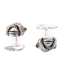 Stephen Webster | 925 Rhodium See No Cufflinks From Featuring A Fixed Back Style A See No Stamp On The Back And A Monkey Covering Its Eyes On The Front