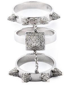 ELISE DRAY | Diamond Three-Piece Piccadilly Ring From Featuring Three Band Rings Embellished With Pave Set Diamond Spiked Cones Attached By A Fine Chain