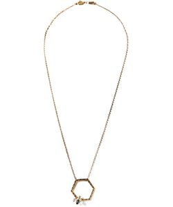 ALISON LOU | Bee In The Trap Necklace From Featuring A Diamond Encrusted Honeycomb Pendant A Bee Accent A Thin Chain An Engraved Logo Charm And A Lobster Claw Fastening