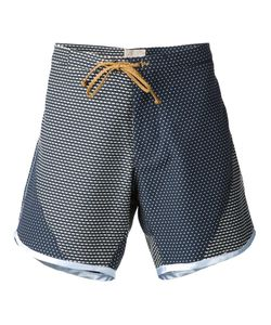 THADDEUS O'NEIL | Navy And Cotto Blend Printed Panels Swim Shorts From