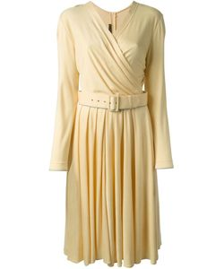 LOUIS FERAUD VINTAGE | Wool Belted Wrap Style Dress From Circa 1980 Featuring A Wrap Style V Neck A Belted Waist Long Sleeves A Pleated Skirt And A Knee Length