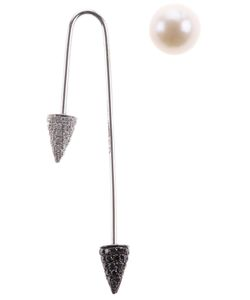 ASHERALI KNOPFER | Single Bar Earring From Featuring 18k And Diamond Embellished Conical Tips And An Interchangeable Pearl Tip