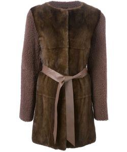 Liska | Пальто С Контрастным Передом И Поясом