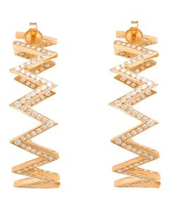 JAGGA | 18kt Diamond Zig-Zag Hoop Earrings From Featuring Pave Set Diamonds And A Butterfly Fastening
