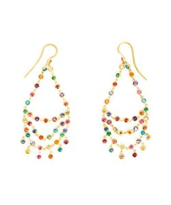 MARIE HELENE DE TAILLAC | 18kt Rainbow Chandelier Earrings From Featuring A Hook Fastening And Multicoloured Precious Stones