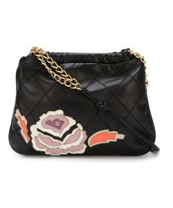 Chanel Vintage | Calf Skin Leather Quilted Applique Bag From Featuring A Concealed Button Fastening A Chain Strap A Quilted Effect And An Embroidered Design