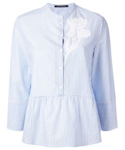 Luisa Cerano   Embroide Pleated Shirt 40 Cotton
