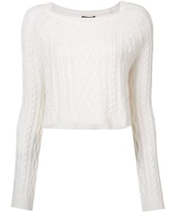 THE PERFEXT | Theperfext Cropped Cable Knit Sweatshirt Small