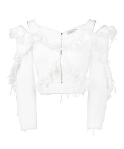 Preen By Thornton Bregazzi | Ruffle Denim Off-Shoulder Top