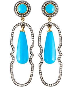 GEMCO | Turquoise And Diamond Drop Earrings