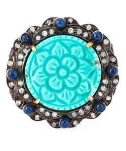 GEMCO | Turquoise And Diamond Flower Cocktail Ring