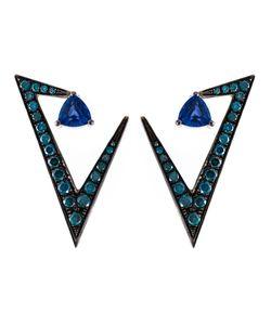 Nikos Koulis | Geometric Sapphire And Diamond Earrings