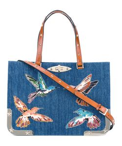 Red Valentino | Embroide Birds Denim Tote Cotton/Leather/Metal