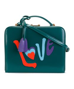 Mark Cross | Love Appliqué Shoulder Bag Cotton/Leather/Straw