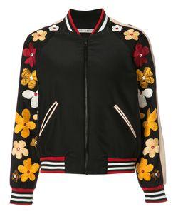 Alice + Olivia   Embroidery Bomber Jacket Small Silk/Polyester/Spandex/Elastane