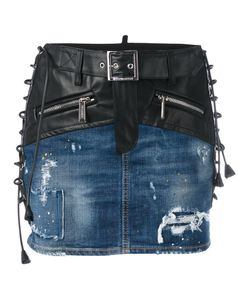 Dsquared2 | Lace-Up Detail Mixed Denim Skirt Size 40 Calf