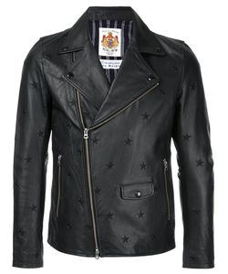 EDUCATION FROM YOUNGMACHINES   Star Embroidered Biker Jacket Men