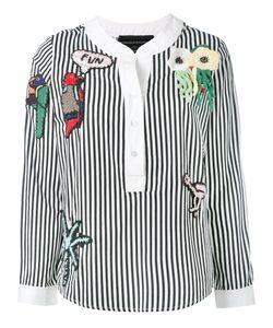 Michaela Buerger | Embellished Striped Blouse Size Medium