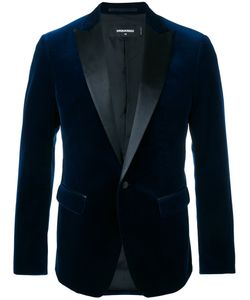 Dsquared2 | Velvet Jacket With Leather Lapel 54 Cotton/Spandex/Elastane/Silk/Polyester
