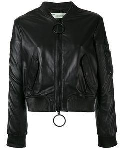 OFF-WHITE | Leather Cropped Bomber Jacket
